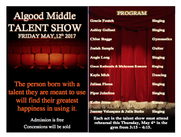 talent show program sample algood middle school newsletter upper cumberland reporter
