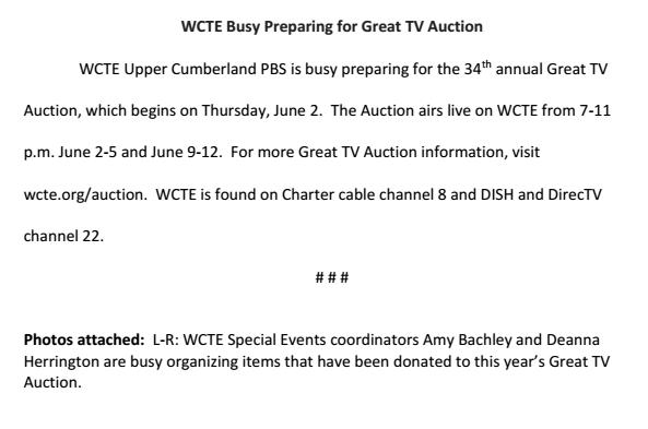 WCTE Auction
