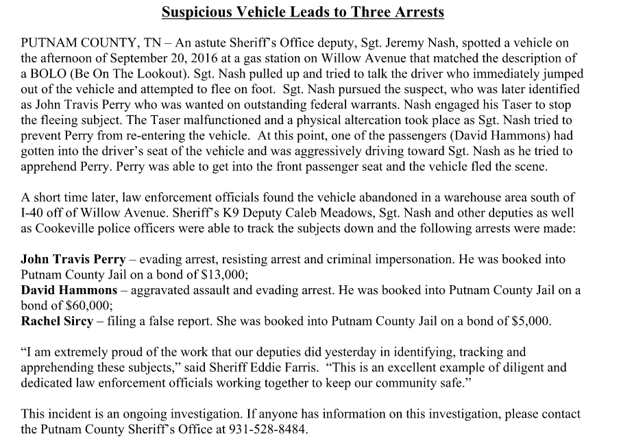 Police Release: Suspicious Vehicle Leads to 3 Arrests | Upper