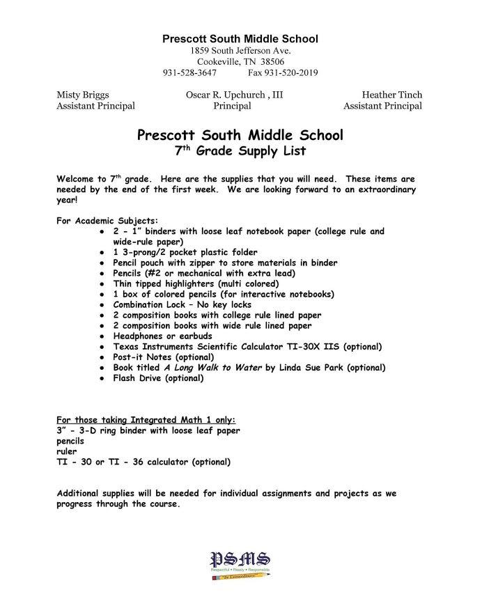 Putnam County 2017-2018 School Supply List | Upper ...