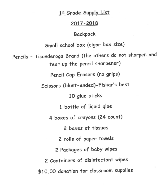 Gainesboro Elementary School Supply List 2017 – 2018 ...