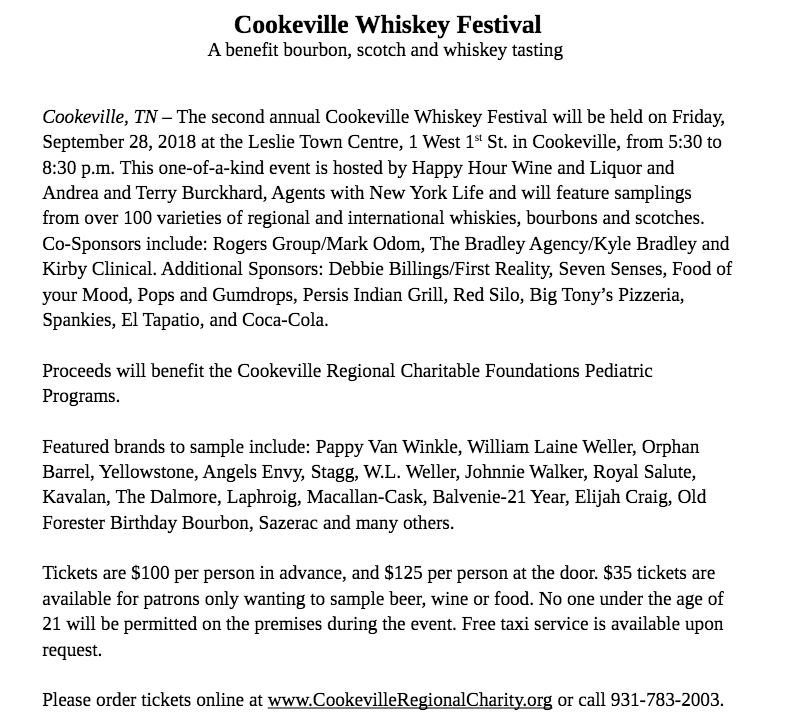 Cookeville Whiskey Festival   Upper Cumberland Reporter