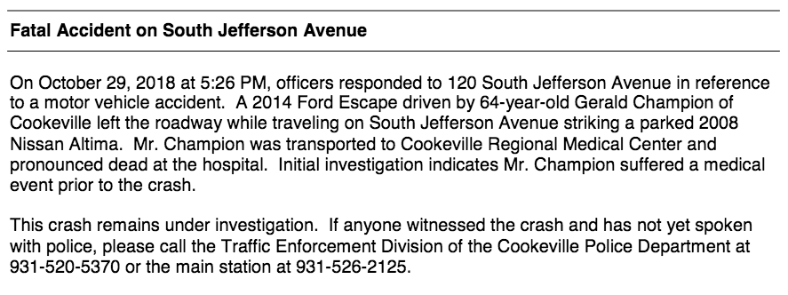 Press Release from Cookeville Police Department   Upper
