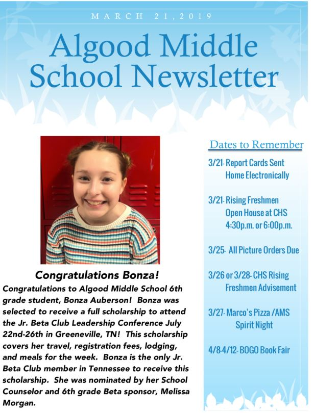 AMS Announcements 3-23-19 | Upper Cumberland Reporter