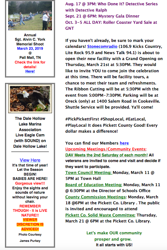 Pickett Co  News & Events March 8, 2019   Upper Cumberland Reporter