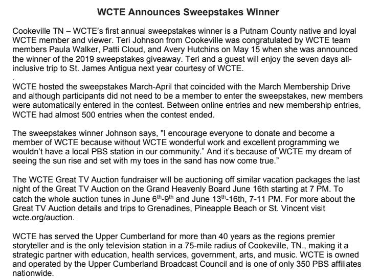 WCTE Announces Sweepstakes Winner | Upper Cumberland Reporter